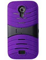 Reiko Silicon Case and Protector Cover with New Kickstand for BLU Studio 5.0 D530, D610I - Retail Packaging - Purple/Black