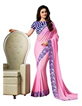 Brijraj Pink Poly Georgette Beautiful Lace Border Saree With Unstitch Blouse