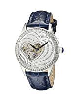 Stuhrling Original Women's 429.2215C2 Amour Aphrodite Temptation Automatic Skeleton Swarovski Crystals Blue Leather Strap Watch