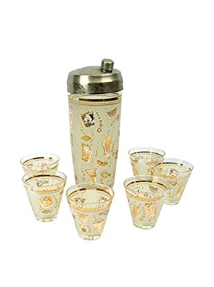 Uptown Down Cocktail Mixer with 6 Glasses, Multi