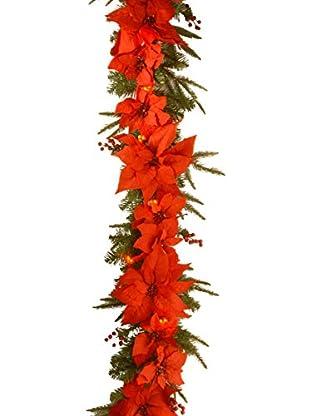 National Tree Company 6' Poinsettia Garland