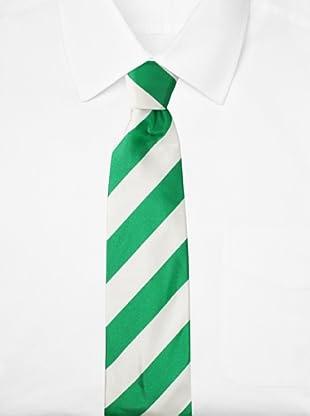 Eton Men's Striped Tie, Green/White
