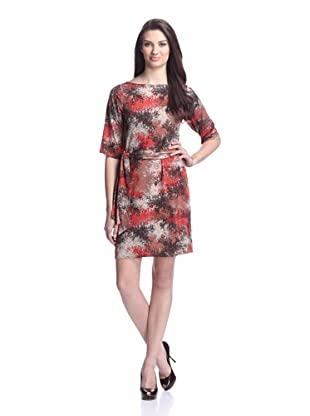 Leota Women's Sheath Belted Shift Dress With Dolman Sleeve And V-Neck Back (Autumn)