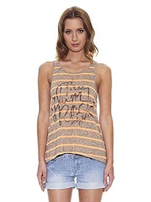 Peace & Love Camiseta de Rayas (Gris)