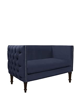 Skyline Nail Button Tufted Chaise, Regal Navy