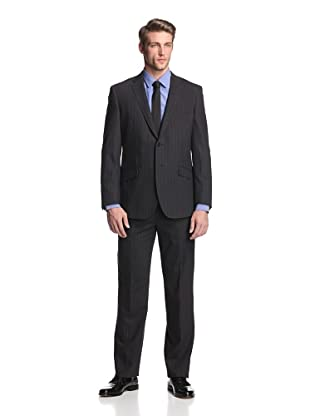 English Laundry Men's 2-Button Chalk Stripe Suit (Black)