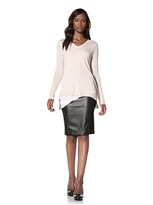 KOKUN Women's Layered V-Neck Sweater (Sand/White)