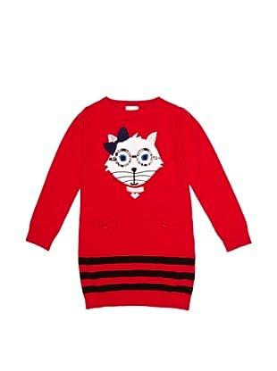 YUMI GIRLS Vestido Intarsia (Rojo)