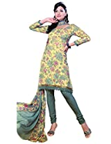 Anvi Creations Grey light Yellow Spun Cotton Dress Meterial (Grey light Yellow_Free Size)
