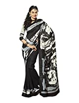 Brijraj Black White Gray Bhagalpuri Silk Beautiful Printed Saree With Unstitch Blouse