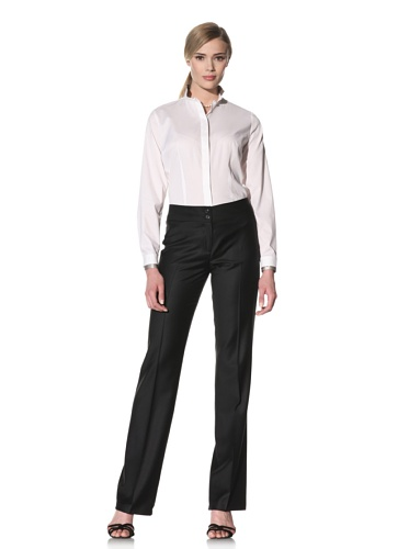 Luciano Barbera Women's Banded Collar Button-Up Shirt (White)