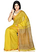 Utsav Fashion Women's Yellow Pure Chanderi Silk and Cotton Saree with Blouse