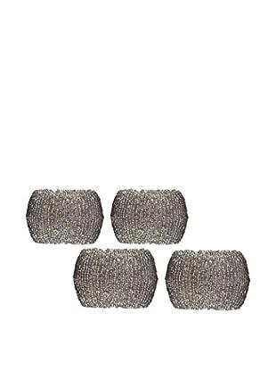 KAF Home Set of 4 Beaded Napkin Rings, Antique Crystal