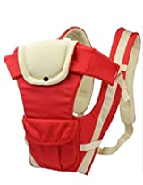 AND-Generic 1 Pc Adjustable Hands-Free 4-in-1 Baby Carrier with Comfortable Head Support & Buckle Straps - Color: Red