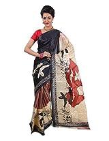 Parichay Women's Silk Saree(Red & Beige)