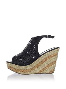 Ciao Bella Women's Desert Wedge Sandal (Black)