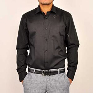 Blackberrys Men Shirts Long Sleeve Black Formal