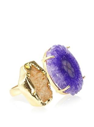 Saachi Purple Agate & Gold Druzy Ring