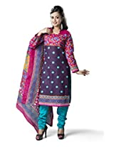 Rajnandini Women's Pink & Green colour pure cotton Printed Unstitched salwar suit Dress Material (Free Size)