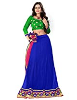 Jiya Presents Women's Multi Embroidered Stitched Lahenga With Unstitched Blouse Piece.(Blue)