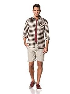 FARAH Men's The Fenn Check Long Sleeve Woven Shirt (Dark Earth)