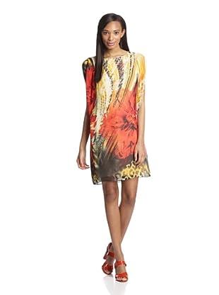 Gabby Skye Women's Illusion Sleeve Shift Dress (Orange/Yellow)