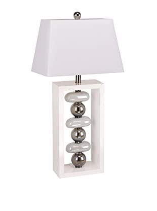 Elisamarie Table Lamp (White/Silver)