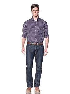 Nautica Men's Non-Iron Plaid Button-Down Shirt (Red/Navy)