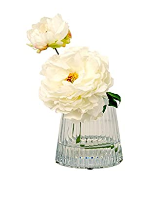 Creative Displays Peony In Square Glass Vase, White