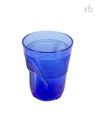 Kaleidos Set 6 Bicchieri Accartocciati 360 ml (Blu)