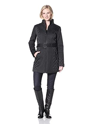 Laundry by Shelli Segal Women's Long Mini Quilt Coat with Belt (Black)