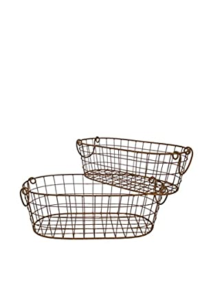 Three Hands Set of 2 Metal Baskets, Rust