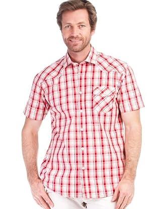 Cortefiel Camisa Cuadros Rústico (Blanco / Rojo)