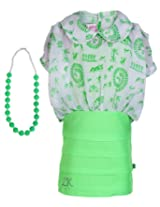 Little Kangaroos Green Short Sleeves Frock With Necklace