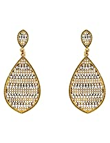 Donna Fashion White Leaf Gold Plated Dangler Earrings with Crystals for Women ER30073G