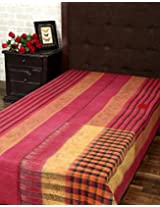 Classic Single Gudri Maroon Cotton Vintage Kantha Work Throw Blanket By Rajrang
