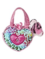 Aurora World Shimmery Fancy Pals Pink Plush Toy Pet Carrier with Heart