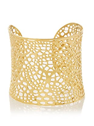 Chloe Collection By Liv Oliver Golden Wide Textured Cuff Bracelet