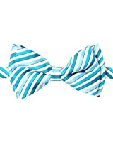 Retreez Retro Multi Tone Stripe Woven Microfiber Pre-tied Boy's Bow Tie - Turquoise - 8 - 10 years