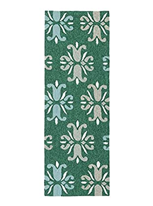 Kaleen Escape Indoor/Outdoor Rug, Emerald, 2' x 6' Runner