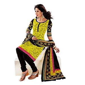 Salwar Studio Yellow & Black Cotton Printed unstitched Churidar Kameez with dupatta KO-4407