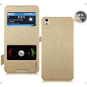 Pudini Double Window Flip Back Cover Case - Gold- For HTC DESIRE 816