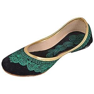 Jodhpuri's black velvet/green emroidery Mojari For Women