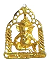 DollsofIndia Gold Plated Pendant - Ganesha Sitting on Swing - Metal - Golden, Yellow
