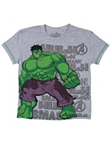 Hulk Tween Boys Half sleeve T- Shirt - Light Grey Melange