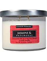 Candle-lite Essential Elements 14-3/4-Ounce 3 Wick Candle with Soy Wax, Jasmine and Patchouli