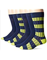 Fruit Of The Loom Men's 6 Pack Rugby Striped Crew Socks, Navy/Green, 10-13 Sock/6-12 Shoe