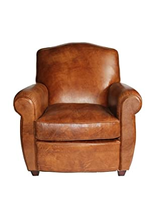Melange Home Knights Bridge Top-Grain Leather Armchair, Whiskey Brown