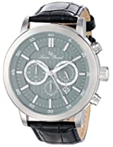 Lucien Piccard Men's 12011-014 Monte Viso Chronograph Grey Textured Dial Black Leather Band Watch