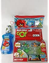 Angry Birds Teeth And Telepods Multi Pack Angry Birds Dental Travel Pouch (Designs Vary) With Colgate Kids Toothpaste Plus Angry Birds Mouthwash